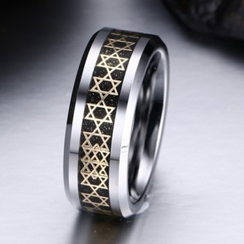 Hexagram Printed Tungsten Carbide Ring - COLORMIX ONE-SIZE