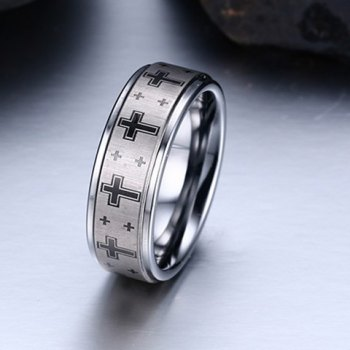 Punk Cross Print Tungsten Carbide Ring