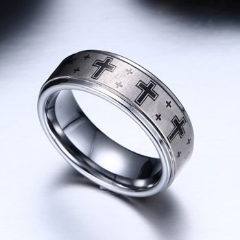 Punk Cross Print Tungsten Carbide Ring - COLORMIX ONE-SIZE