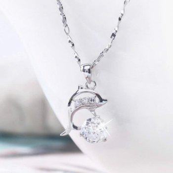 Dolphin Rhinestone Hollow Out Necklace - SILVER