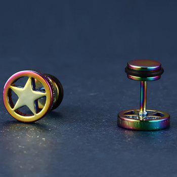 Pair of Stylish Stainless Steel Star Earrings Jewelry For Men - COLORFUL
