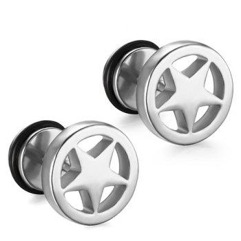 Pair of Stylish Stainless Steel Pentagram Earrings For Men