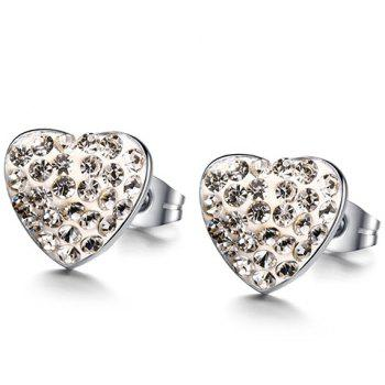 Pair of Alloy Rhinestone Heart Earrings