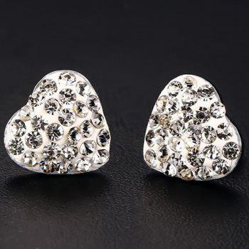Pair of Alloy Rhinestone Heart Earrings - WHITE