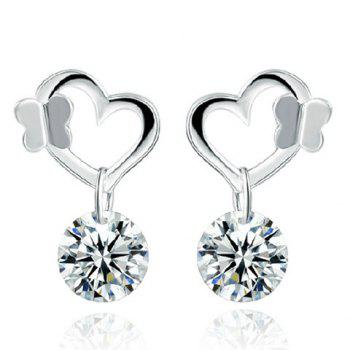 Pair of Heart Rhinestone Butterfly Earrings
