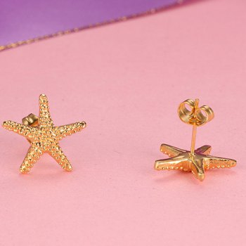 Pair of Pentagram Shape Earrings - GOLDEN