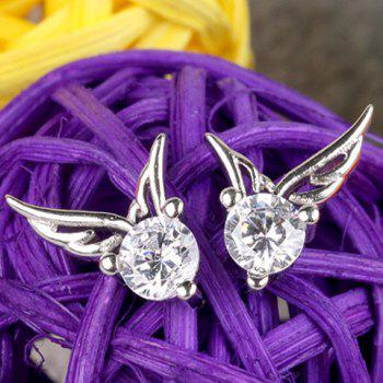 Pair of Angle Wings Rhinestone Stud Earrings - SILVER