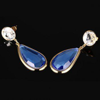 Pair of Chic Faux Sapphire Water Drop Earrings For Women - BLUE