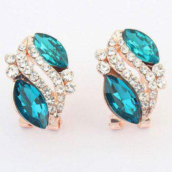 Pair of Rhinestone Alloy Oval Earrings