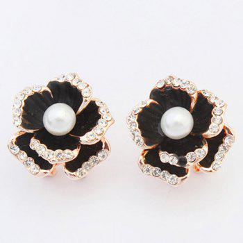 Pair of Floral Faux Pearl Stud Earrings