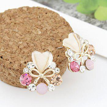 Pair of Rhinestone Bowknot Heart Earrings
