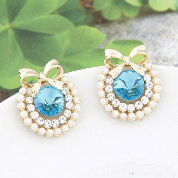 Fake Pearl Rhinestone Bowknot Earrings