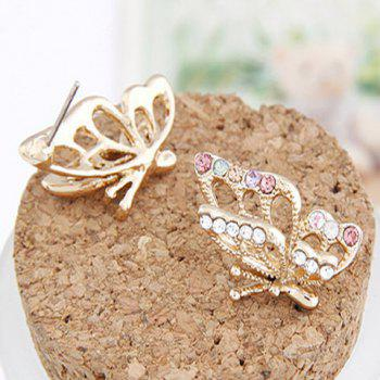 Pair of Butterfly Rhinestone Earrings - GOLDEN