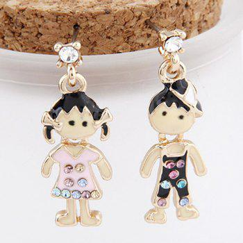 Pair of Asymmetric Rhinestone Figure Earrings