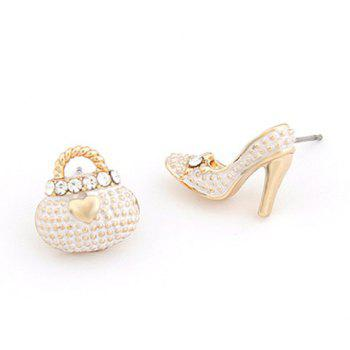 Pair of High Heel Heart Rhinestone Shape Earrings