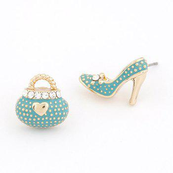 Pair of Rhinestone Heart High Heel Shape Earrings