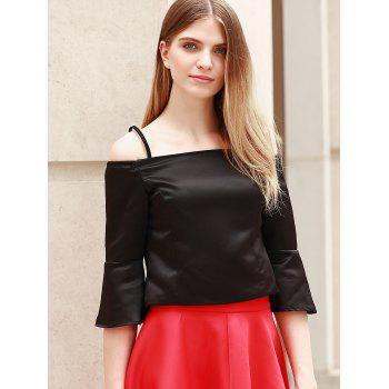 Stylish Flare Sleeve Spaghetti Strap Women's Crop Top - BLACK S