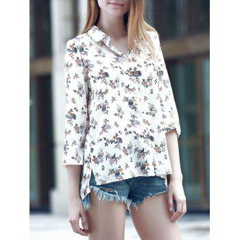 Sweet Women's Turn-Down Collar 3/4 Sleeve Flower Print Shirt