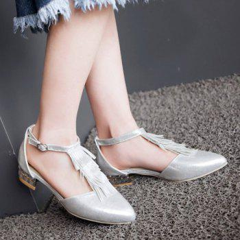 Fashion T-Strap and Fringe Design Women's Flat Shoes - SILVER 39