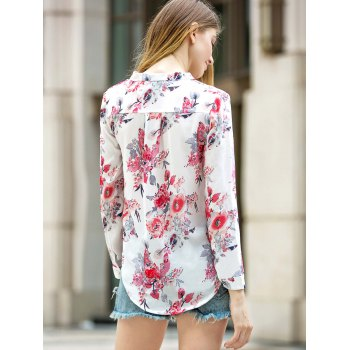 Long Sleeve Floral Printed V-Neck Shirt - WHITE XL