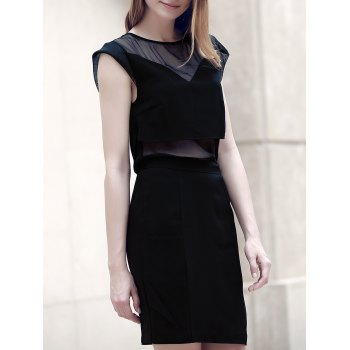 Trendy Round Collar Voile Spliced See-Through Women's Dress
