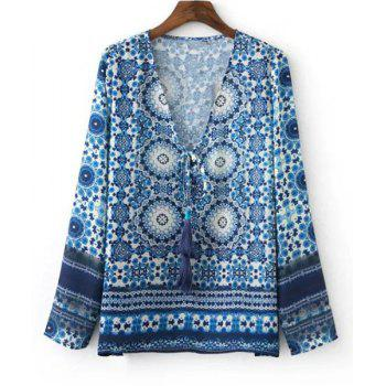 Ethnic Women's Tribal Print Long Sleeves Tied-Front Blouse - BLUE BLUE