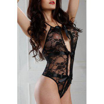 See Thru Halter Lace Cut Out Teddy - BLACK ONE SIZE(FIT SIZE XS TO M)