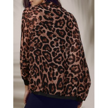Women's Stylish Leopard Print 3/4 Sleeve Chiffon Cardigan