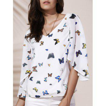 V Neck 1 2 Sleeve Print Chiffon Blouse For Women