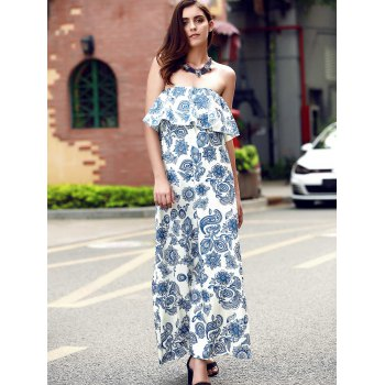Vintage Strapless Flounce Patterned Maxi Dress For Women - BLUE L