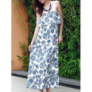 Vintage Strapless Flounce Patterned Maxi Dress For Women