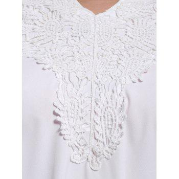 V-Neck White Lace Spliced ​​Chemisier sans manches Sweet femmes - Blanc S