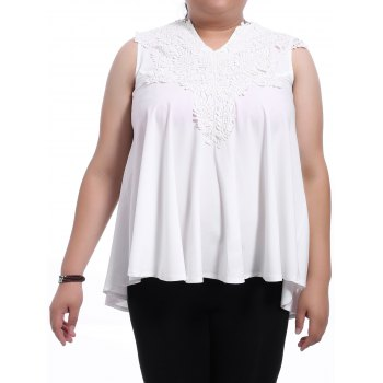 Sweet Women's V-Neck White Lace Spliced Sleeveless Blouse