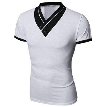 Turn-Down Collar Button Embellished Color Block Spliced Short Sleeve Men's T-Shirt