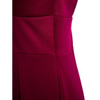 Chic Plongeant Neck manches Solid Color Low-Cut femmes de robe - Rouge vineux M