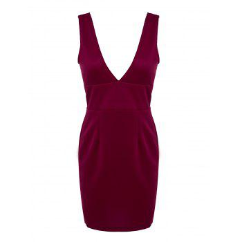 Chic Plunging Neck Sleeveless Solid Color Low-Cut Women's Dress