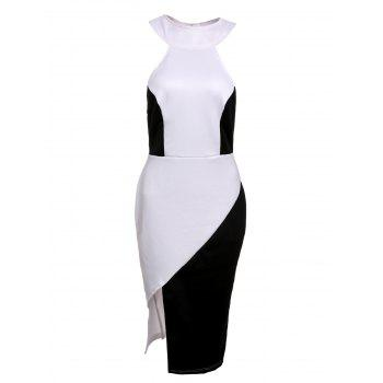 Novelty Stand-Up Collar Sleeveless Black and White Spliced T-Back Women's Slit Dress