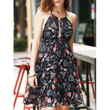 Halter Print Backless Dress