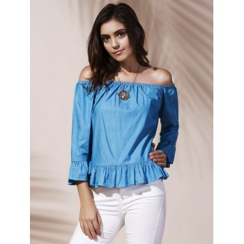 Off Shoulder Flounce Blouse - AZURE XL