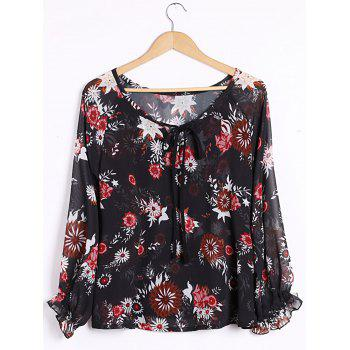 Sexy Women's Plunging Neck Long Sleeve Floral Print Blouse