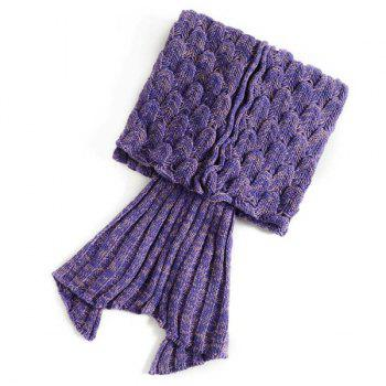 Fish Scale Tail Shape Sleeping Bag Knitting Mermaid Blanket -  PURPLE