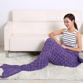 Fish Scale Tail Shape Sleeping Bag Knitting Mermaid Blanket - PURPLE PURPLE