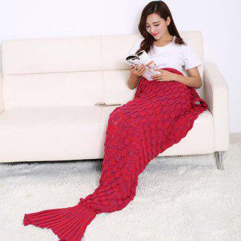 Fish Scale Tail Shape Sleeping Bag Knitting Mermaid Blanket - RED RED