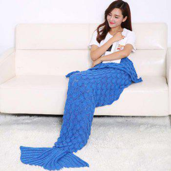 Fish Scale Tail Shape Sleeping Bag Knitting Mermaid Blanket - ROYAL BLUE ROYAL BLUE