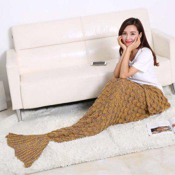 Fish Scale Tail Shape Sleeping Bag Knitting Mermaid Blanket -  GINGER