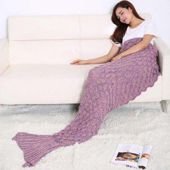 Fish Scale Tail Shape Sleeping Bag Knitting Mermaid Blanket -  PLUM