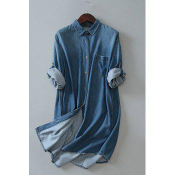 Chic Bleach Wash Long Sleeve Loose Women's Denim Shirt Dress - DEEP BLUE DEEP BLUE