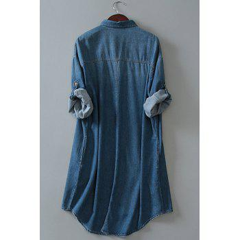 Chic Bleach Wash Long Sleeve Loose Women's Denim Shirt Dress - ONE SIZE(FIT SIZE XS TO M) ONE SIZE(FIT SIZE XS TO M)