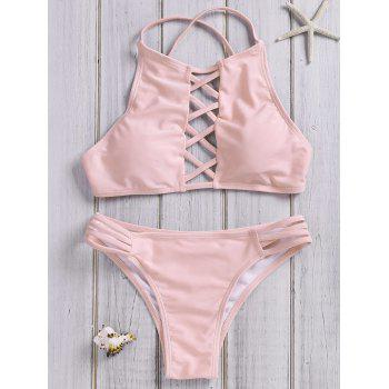 Halterneck Lace-Up Hollow Out Bikini Set