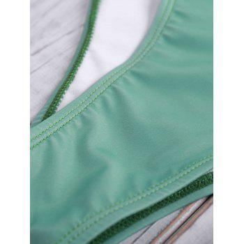 Halterneck Lace-Up Hollow Out Bikini Set - GREEN S